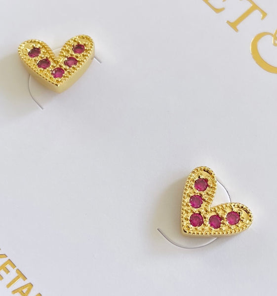 Pink Pave Heart Studs