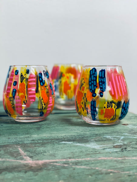 Fiesta Hand Painted Wine Glasses