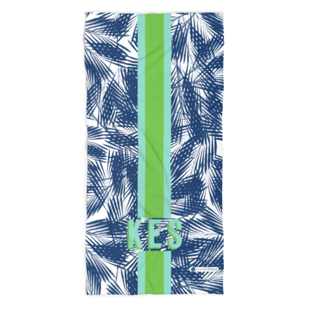 Palm Leaves Navy Beach Towel