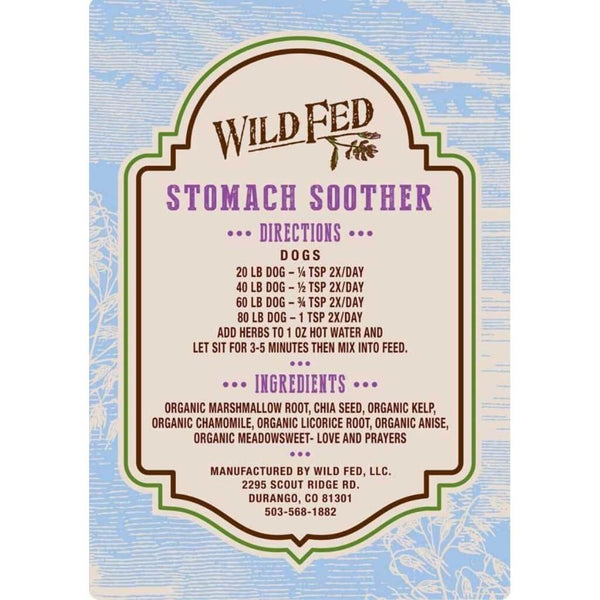 Wild Fed Stomach Soother Ingredients Label.