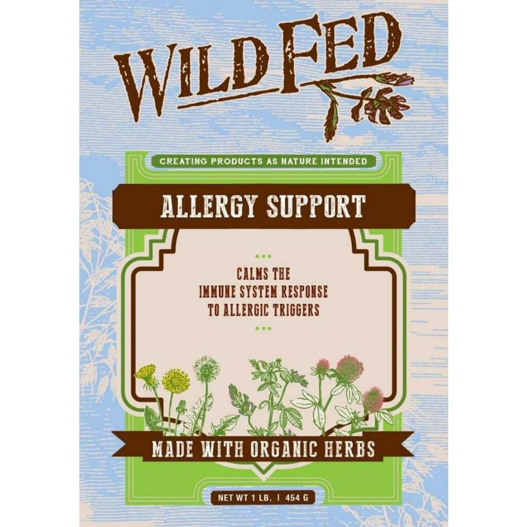 Wild Fed Allergy Support for Horses label.