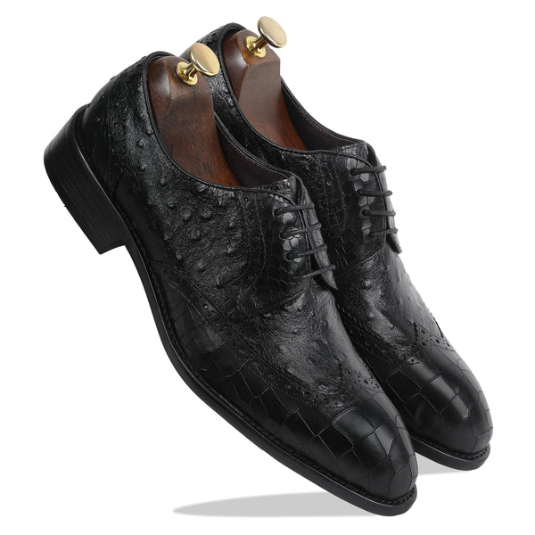 Crocodile Ostrich Derby - Black