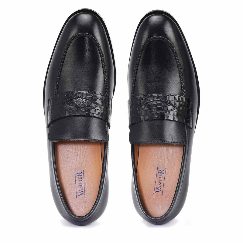 Romanian Black Penny Loafers