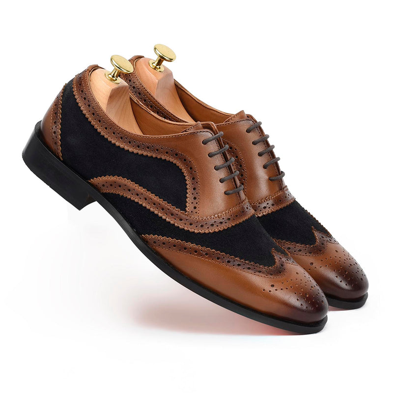Caro London Tan Blue Brogues