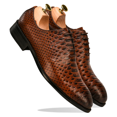 Alligator Oxfords - Brown