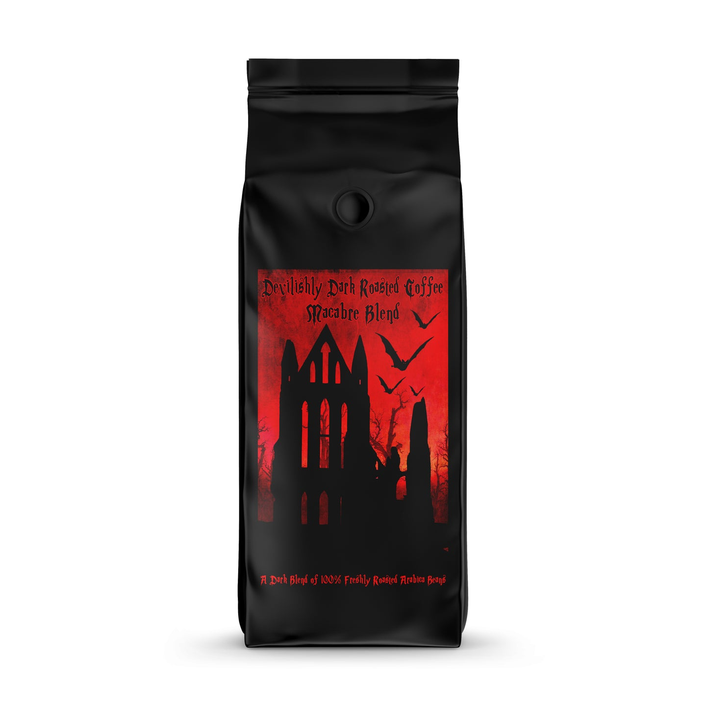 Macabre Coffee is a blend of 100% Hand Roasted Beans from Costa Rica and El Salvador.  Ethically Sourced Fair Trade with a rich smooth dark decedant flavour.  Dark Luxury Beans Filter Espresso.