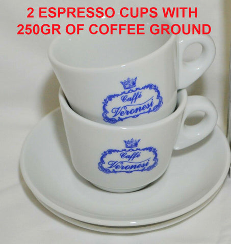 250 gr of Brazil blend coffee  and 2 Espresso cups/saucers Package Deal 🇮🇹