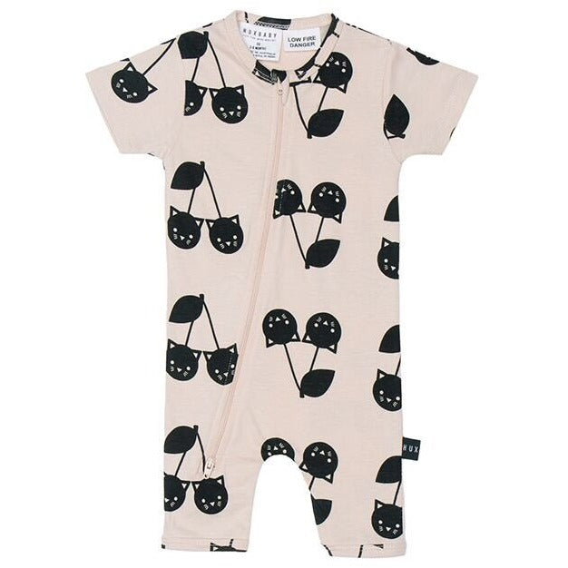 Cherry cat short zip romper