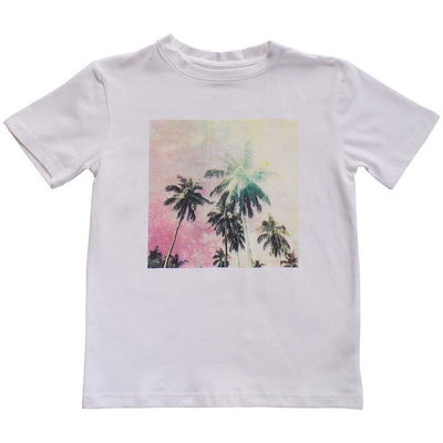 Easy Tiger Tee White Palms