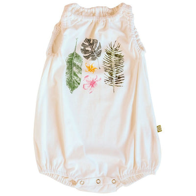 Bubble Romper White Tropical