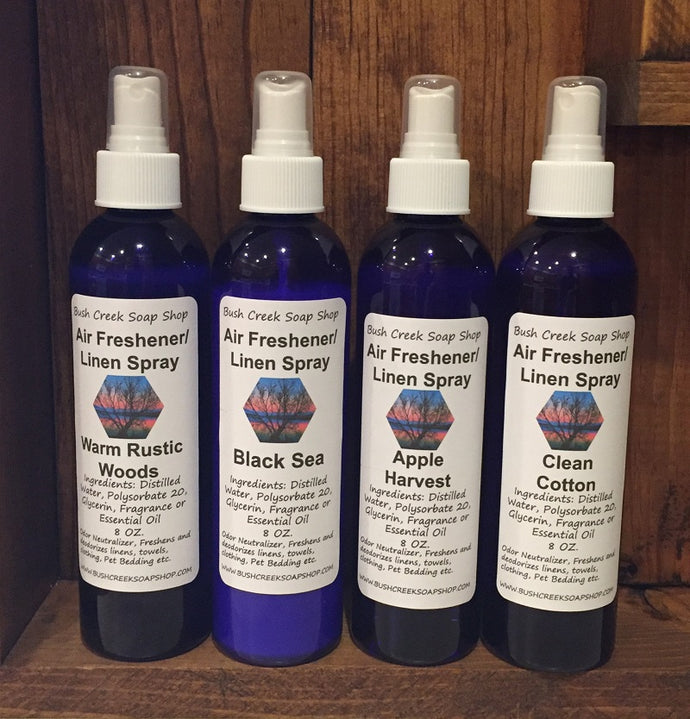 Handmade Bush Creek 4 oz. Air Freshener Odor Neutralizer Linen Spray 200 Fragrances Alcohol Free  L-Z