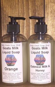 Handmade Bush Creek Goats Milk Liquid Soap Eczema Psoriasis 180 Fragrances L-Z Alcohol Free 8 oz bottle