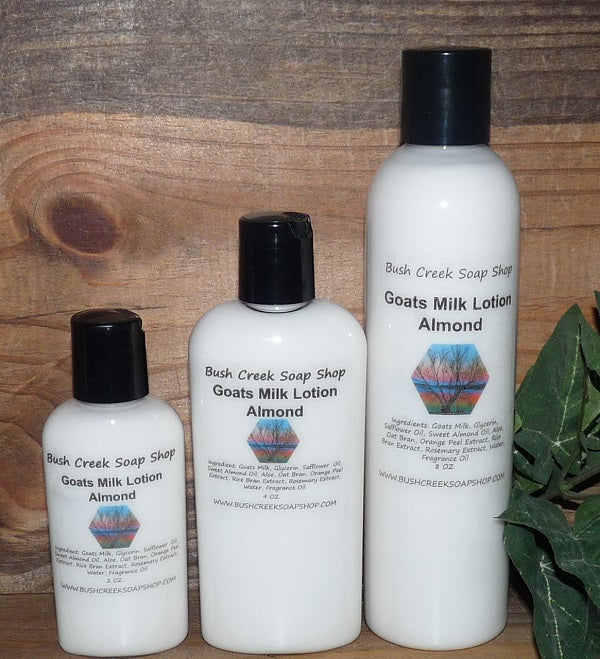 Handmade Bush Creek Goats Milk Lotion 8 oz Full Size Eczema Psoriasis 180 Fragrances A-K Paraben Free Moisturizing