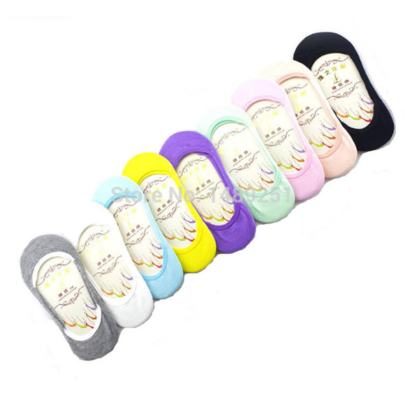 Womens 5 pair solid color ankle cotton boat sock/slipper socks
