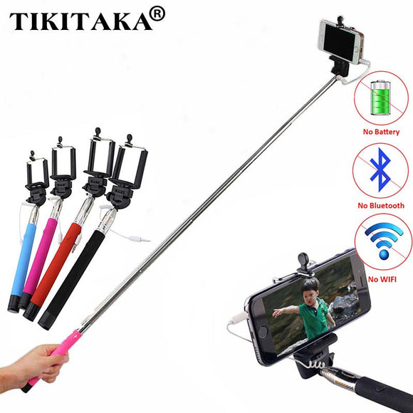 Selfie stick for iPhone & Samsung Android phones, extends 22 to 100cm (approx.) supports Audio cable wire