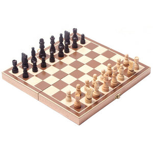 Vintage wooden chess board with chess pieces. Excellent gift for any age