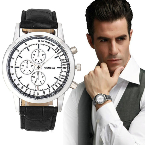 Mens watch, leather strip, quartz analog style