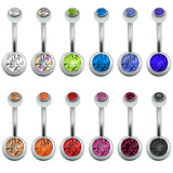 12 Pcs/Lot Belly Button Rings Crystal Surgical Steel Body Jewelry