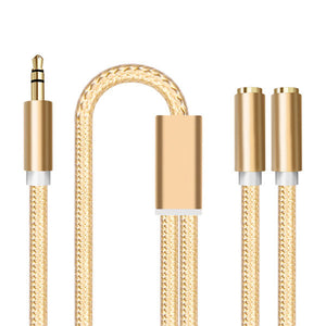 iPhone & iPad, 3.5mm Jack Audio Cable Headphone Extension,  1 Male To 2 Female Aux Headset Splitter