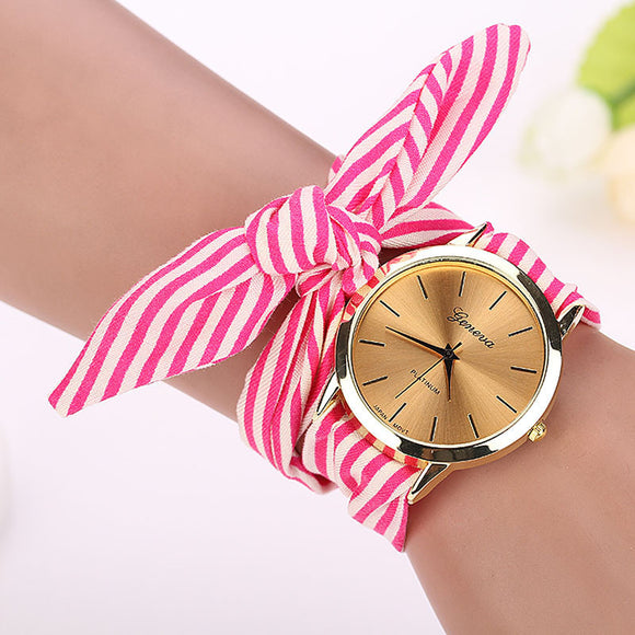 Modern women's watch with fabric style wrist band