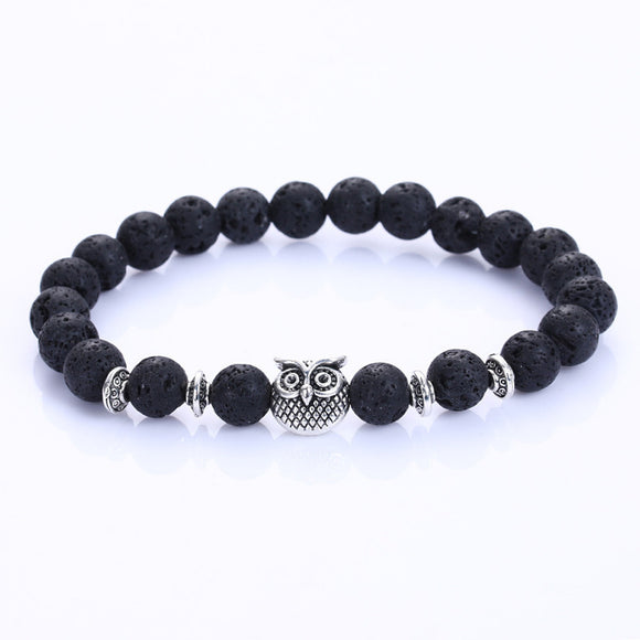 Silver OWL WITH LAVA STONE BEAD BRACELET