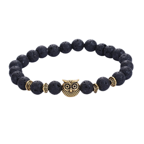 Gold Owl with Lava Stone Bead Bracelet