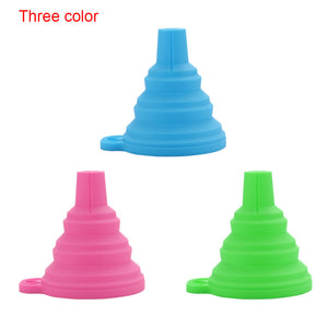 1Pcs Silicone Gel Foldable Collapsible Style Funnel Hopper Kitchen cozinha cooking tools Accessories Gadgets Outdoor