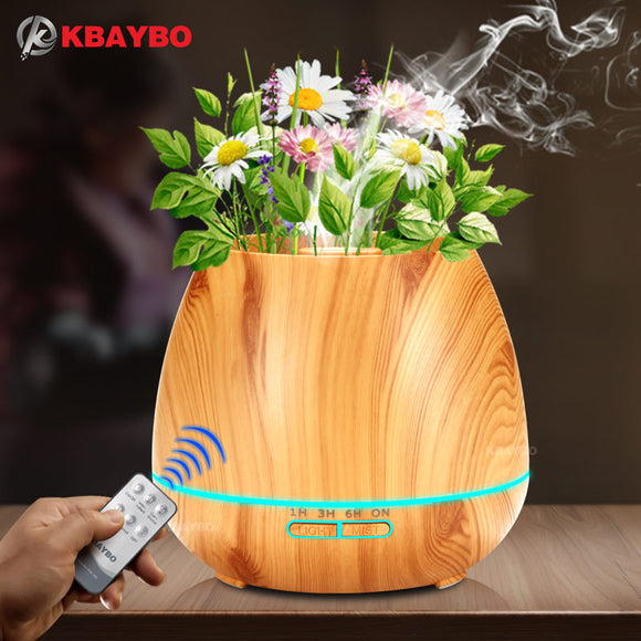 Aroma Essential Oil Diffuser Ultrasonic Air Humidifier with Wood Grain electric LED Lights