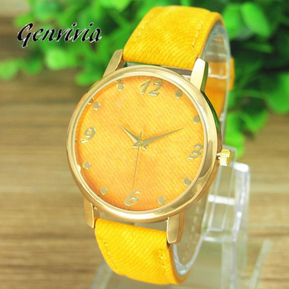Trendy Ladies casual denim alloy dress wrist watch