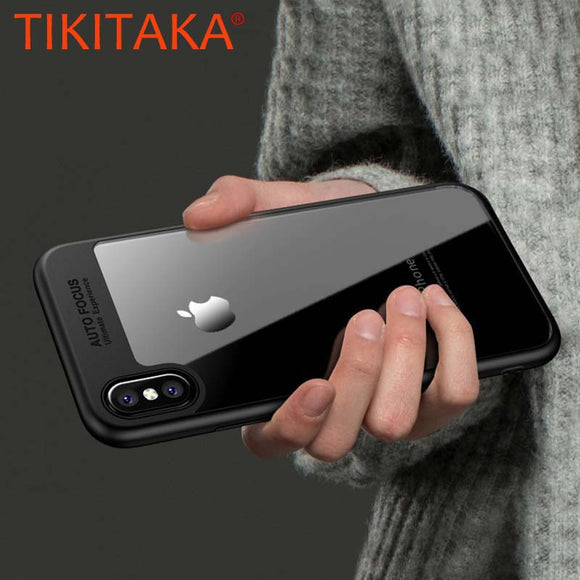 Luxury Iphone X case, transparent TPU & acrylic HD ultra thin back cover