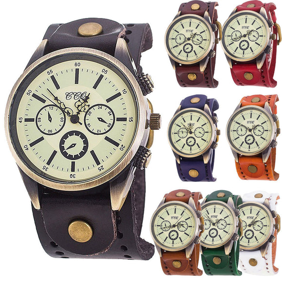 Men casual quartz retro 3 dial bracelet watch