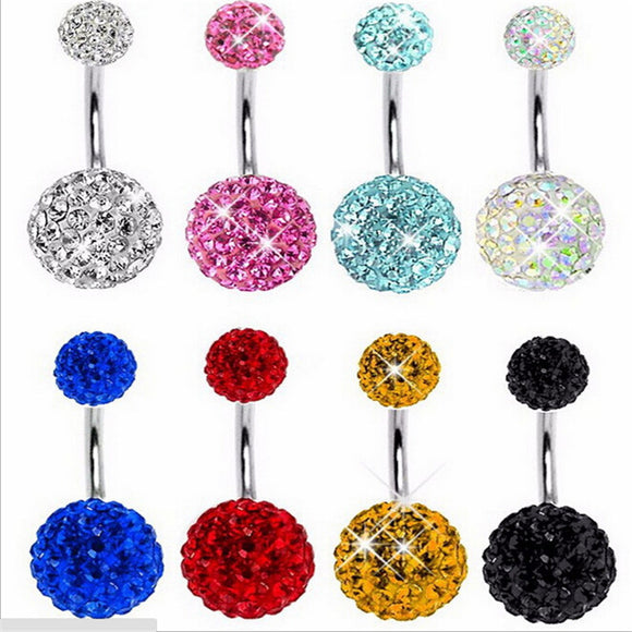 Navel Piercing Crystal Disco Round Ball Stainless Steel Rhinestone Belly Button Rings