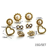 Ladies 5/6 pair/set push back earrings