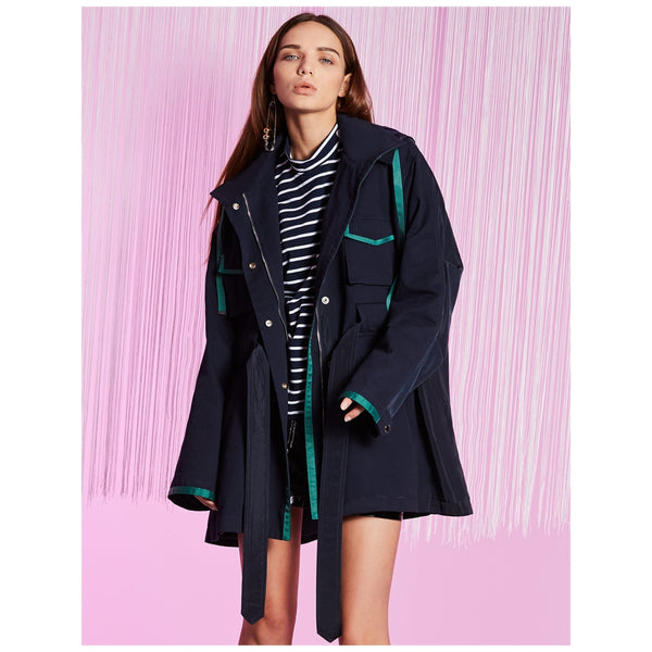 Blue Ink Trench Jacket