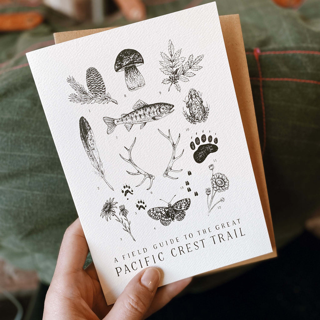 A hand holding a wildlife illustrated Pacific Crest Trail greeting card with kraft envelope in front of an army green canvas bag