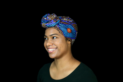 Short Blue Wax Print Headwrap - Krown Worthy