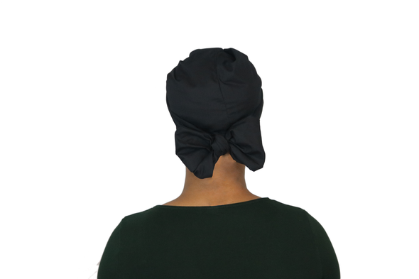 Short Black Satin Lined Headwrap - Krown Worthy