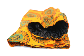 Short Orange Wax Print Headwrap - Krown Worthy