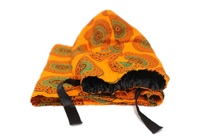Long Orange Wax Print Headwrap - Krown Worthy