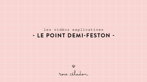le point de demi-feston en broderie - Half blanket stitch wheel - Rose Celadon