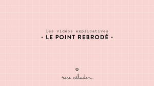 Le point rebrodé en broderie - Rollover embroidery stitch - Rose Céladon