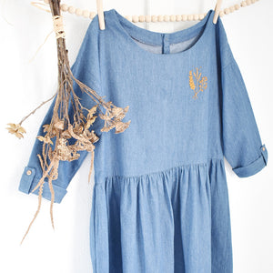 Kit de couture + broderie - Rose Céladon x Nanöo - Robe Mathilda Bleue