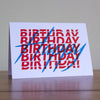 Happy Birthday Red and Blue Greeting Card
