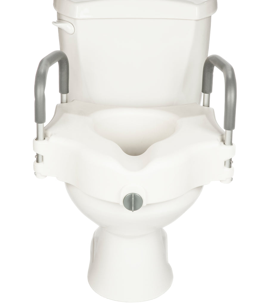 Senick Rasied Toilet Seat with Lock and Padded Armrests