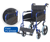 Senick Aluminum Transport Chair (12 Inch Wheels)