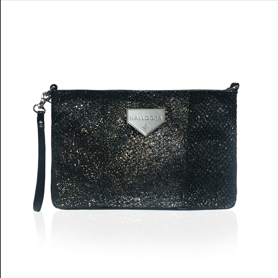 VESKI SVART MEÐ SILFUR DROPUM LAXAROÐ / CLUTCH BLACK WITH SILVER RAINDROP SALMON