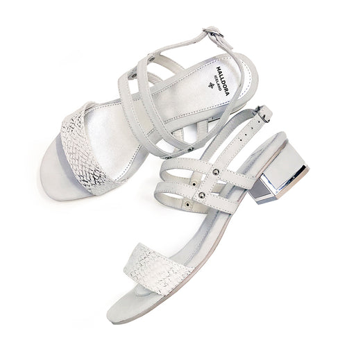 EVA HVÍTIR LAXAROÐ OG RÚSKINN / EVA WHITE SALMON LEATHER AND SUEDE SANDALS