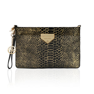 Hamrað svart hliðarveski með gulli / Embossed black and gold purse