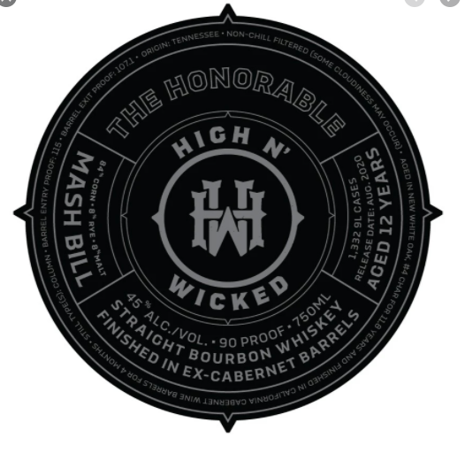 "High N' Wicked ""The Honorable"" Straight Bourbon Whiskey (Louisville, KY)"