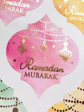 Load image into Gallery viewer, Vinyl:  Large Rose Gold Foil Ramadan Mubarak Moroccan Quatrefoil Stickers